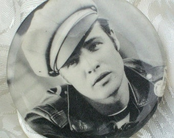Wild One Marlon Brando Vintage Pin Back Icon Rebel Legend 1950s PinBack Button Motorcycle Leather Movie Gift Dad Husband Christmas Hollywood