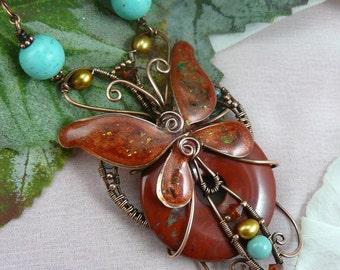 Autumn Butterfly Pendant ~ Art Nouveau Wire Butterfly ~ Jasper Pendant ~ Wire Woven Butterfly ~ Wire Wrapped Butterfly ~ Russet Butterfly