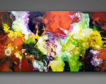 Metaphysical art, giclee print on canvas from my original fluid abstract painting The Fullness of Manifestation, spiritual painting, 18x36""