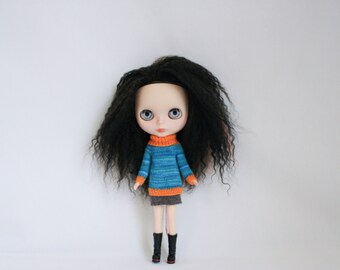 Blythe doll Isobel Sweater knitting PATTERN - long sleeve big neck pull over for Neo - instant download - permission to sell finished items