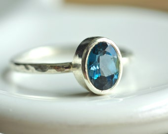 oval london blue topaz ring - custom sized stacking ring - engagement ring - textured band - sterling silver