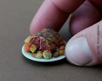Roast Beef and Root Veggies - 1/12 Scale Dollhouse Miniature Meal