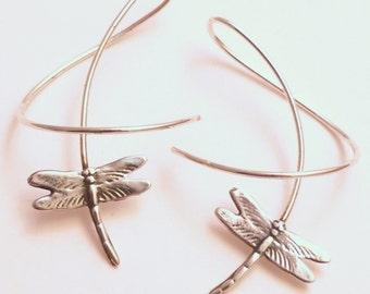 Sterling Silver Dangle Earrings - DRAGONFLY  BREEZE - Fun Twirl-in Casual Earwear