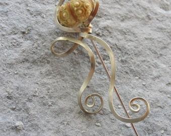 Sputnik Sea Urchin Brooch Pin Jellyfish Twisted Wire Shawl Pin
