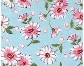 HALF YARD Yuwa - Pink White Daisies and Dots on Sky BLUE - Suzuko Koseki - Pink Polka Dots and Flowers - Japanese Import Fabric