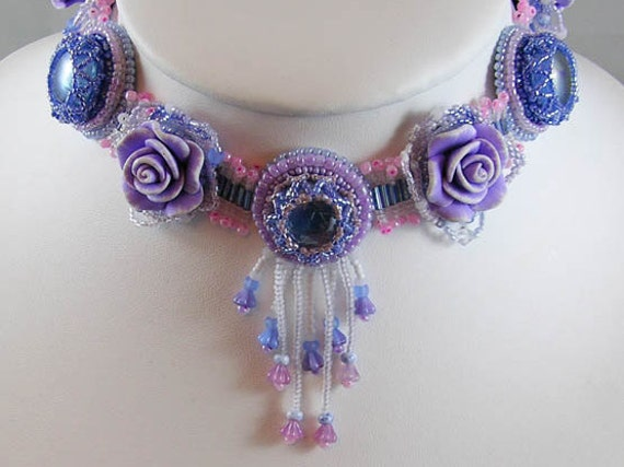 Beaded lilac flower choker necklace with pinks and blues - fairy jewelry - fantasy wedding - romantic wedding - pixie choker - faerie