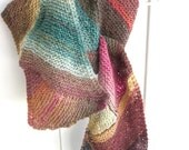 Woman's Scarf; Hand Knit/ Knit Me a Rainbow- With Colors of Forest/ An Inspired Work of Wearable Art