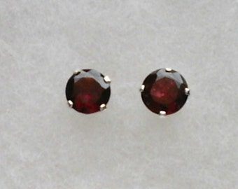 6mm Rhodolite Garnet Gemstones in 925 Sterling Silver Stud Earrings  SnapsByAnthony