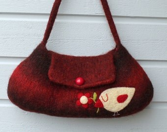 Felted bag purse burgundy red wool handbag shoulderbag hand knit needle felted birdie bird flower