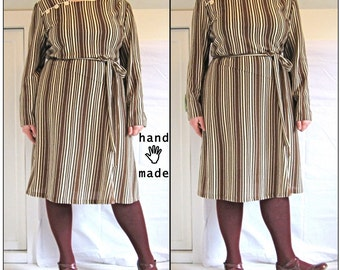 SALE - Coffee Dress - plus size 24 - retro style, long sleeve, freshly handmade in brown white stripe vintage pique fabric -- 50B-46W-52H