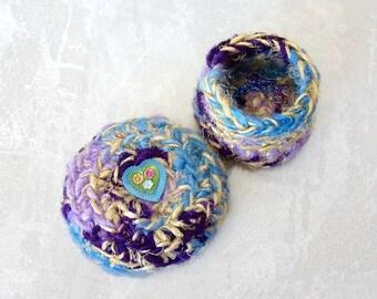 Mini Heart Basket with Lid - I Love You Flower Inspired Multicolor Art Basket - Handmade Silk Basket - Spring Gift for Mom or GrandMa STB020