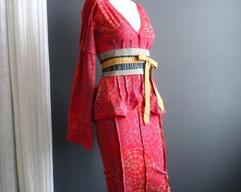 The Great Intoxication - iheartfink Handmade Hand Printed Womens Two Piece Set Fitted Long Sleeves Red Jersey Dress Suit