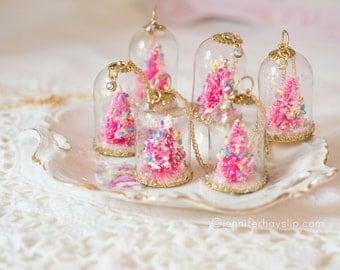 Pink Christmas Tree Sprinkles Glass Snowglobe Dome Jewelry Necklace