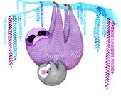 Sloth Art Print // Baby sloth // Cute Sloth Wall Art // Sloth Illustration - Animal Modern Wall Decor - Gender Neutral Baby Gift