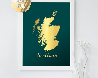 Map of Scotland - Scotland Map Art Print - in GOLD FOIL - Scotland Poster - Scottish Gifts Wall Art Home Decor - 65 Background Colors