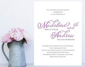 Simple, Elegant Wedding Invitation - Traditional Wedding Invitation, Traditional Wedding Invitations - Gray and Purple Wedding Invitation