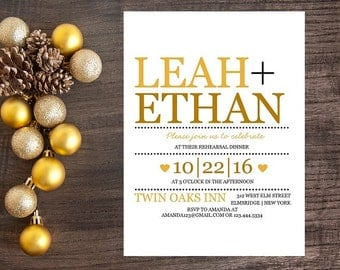 10 Gold Dinner Invitations - Modern Wedding Dinner Invitations, Wedding Rehearsal, Invitations