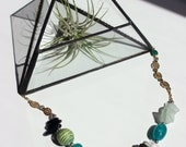 Delia Necklace Mixed Media Crystal and Stone Statement Necklace