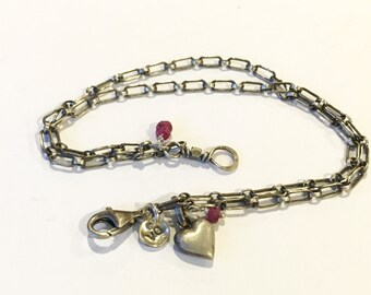 silver double chain bracelet with heart and rubies valentine bracelet
