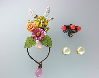 Pink Fairy Ear Cuffs With Vintage Pearl Studs, Woodland Ear Cuff, Fantasy Ear Cuff, Fairy Earrings, Fairy Jewelry, Unique Ear Cuff