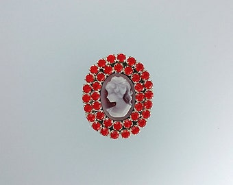 Lovely Bright Red Oval Lady Cameo With Crystals Ear Cuff, Crystals Ear Cuff, Elegant Ear Cuff, Cameo Jewelry, Cameo Earrings