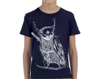 Zentangle Samurai Owl Boys Boy's Tri-Blend Crew T shirts