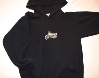 Hoodie 10-12 CHILD SIZE Medium Hooded Sweatshirt Motorcycle Embroidered on Hoodie - Ready to Ship