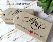 Merci Personalized Tags, Personalized Tags, Custom Tags, Hang Tags, Gift Tags, Wedding Shower, Wedding Tags, Thank You Tags, Merci Tags
