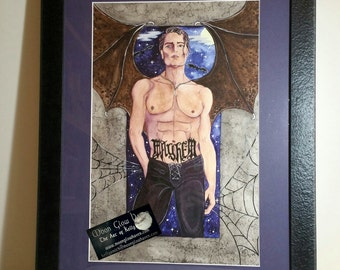 Original Watercolor Painting, Dark Angel Sexy Male, Fantasy Artwork, Gay Male Art, Gay Gift, Gothic Art, Dark Art,Dark Angel, Fallen Angel