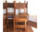 1940s Carved Dragon Chairs - Set of 4 - Made in Belgium - Gothic Chairs