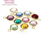 5 Swarovski Crystal Birthstone Charms. Gold Plated. 6mm. 5 pack. Choose your colors. 1128 SS29.