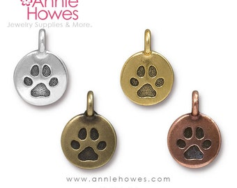 Boho Paw Print Charm For Your Charm Bracelet. Dog Paw Print, Cat Paw Print.