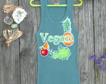 Vegetarian shirt vegan stretchy & super soft veggies tank tops and tees, vegan gift, womens clothing Yoga top, summer top, Fair Trade batik