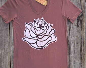 Womens lotus batik yoga hand painted hand dyed Tops & Tees earth brown XS, S, M, L, XL, 2XL