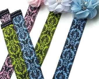 DAMASK Hair Bow Holder Pink Lime Green Blue Black - Pretty and Simple HAIR BOW Holders for Girls - HairBow Organizer - Baby Shower Gift