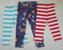 Leggings for Girls Sizes, 2t, 3t, 4t, 5, 6, 7, 8, 10 Pattern choices- forest animals, aqua/white stripe, red/white