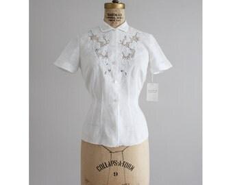 linen openwork lace blouse   50s linen blouse