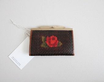 RESERVED ITEM! leather wallet / floral wallet / 60s wallet