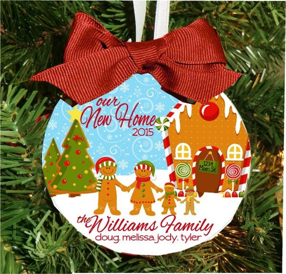 Personalized New Home Gingerbread Family Ornament - 4