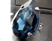 Large Blue Teardrop Crystal Ring, Huge Montana Blue Swarovski Crystal Pear Adjustable Cockail Ring, Midnight Blue Antiqued Silver Ring 4327