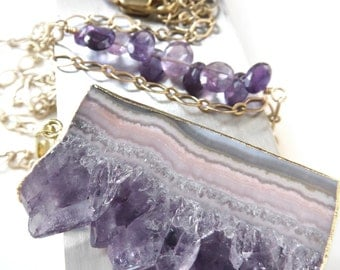 Necklace with Amethyst Slice Pendant and Gold Chain, Purple Amethyst Gemstone, February Birthstone, February Birthday Gift, Amethyst Jewelry