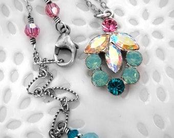 Lotus Pendant Necklace, Rhinestone Crystal Lotus Flower Blossom Necklace, Yoga Jewelry, Yoga Necklace, Seafoam, Aqua, Pink Crystal Necklace