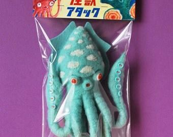 Print: Gesora (header version) - felt plush art needlefelt photo graphic wall decor digital kaiju sic-fi toy japan retro pink blue