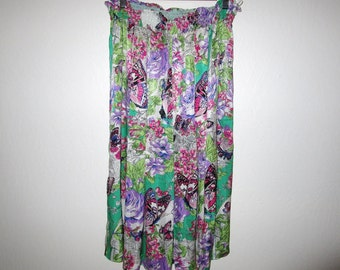 Diane Freis Skirt - Butterfly Floral Print - Vintage 80's - Size Medium - Green Pink Purple Multicolored Silky