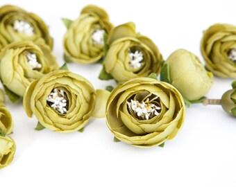 15 Small Mini Ranunculus in Olive Green - silk artificial flower, millinery flower - ITEM 0356