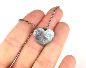 Dog Paw Pad or Nose Print Heart Necklace in Fine Silver Sterling Silver Chain