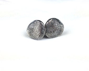 Pet Nose or Paw Print Organic Post Stud Earrings in Fine Silver