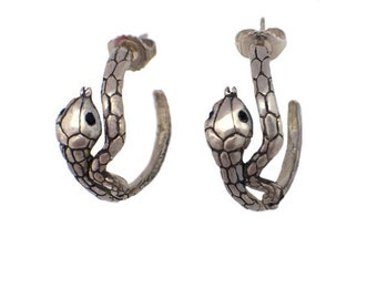 Snake Hoop Earrings    silver gold post jewelry small