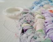 Rainbow Delights Rag Rug POTHOLDER / Trivet - Vintage Style Made From Quilting Scraps