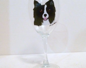 Hand Painted Border Collie Dog Wine Glasses set of 2 Pet Lovers Boutique Artist Mary Wilson